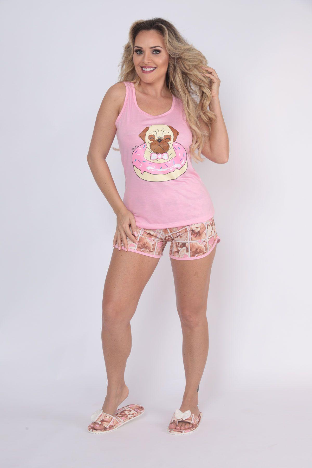 """Pijama Feminino Short Doll Nadador """"Bella"""" - Victory 20007"""