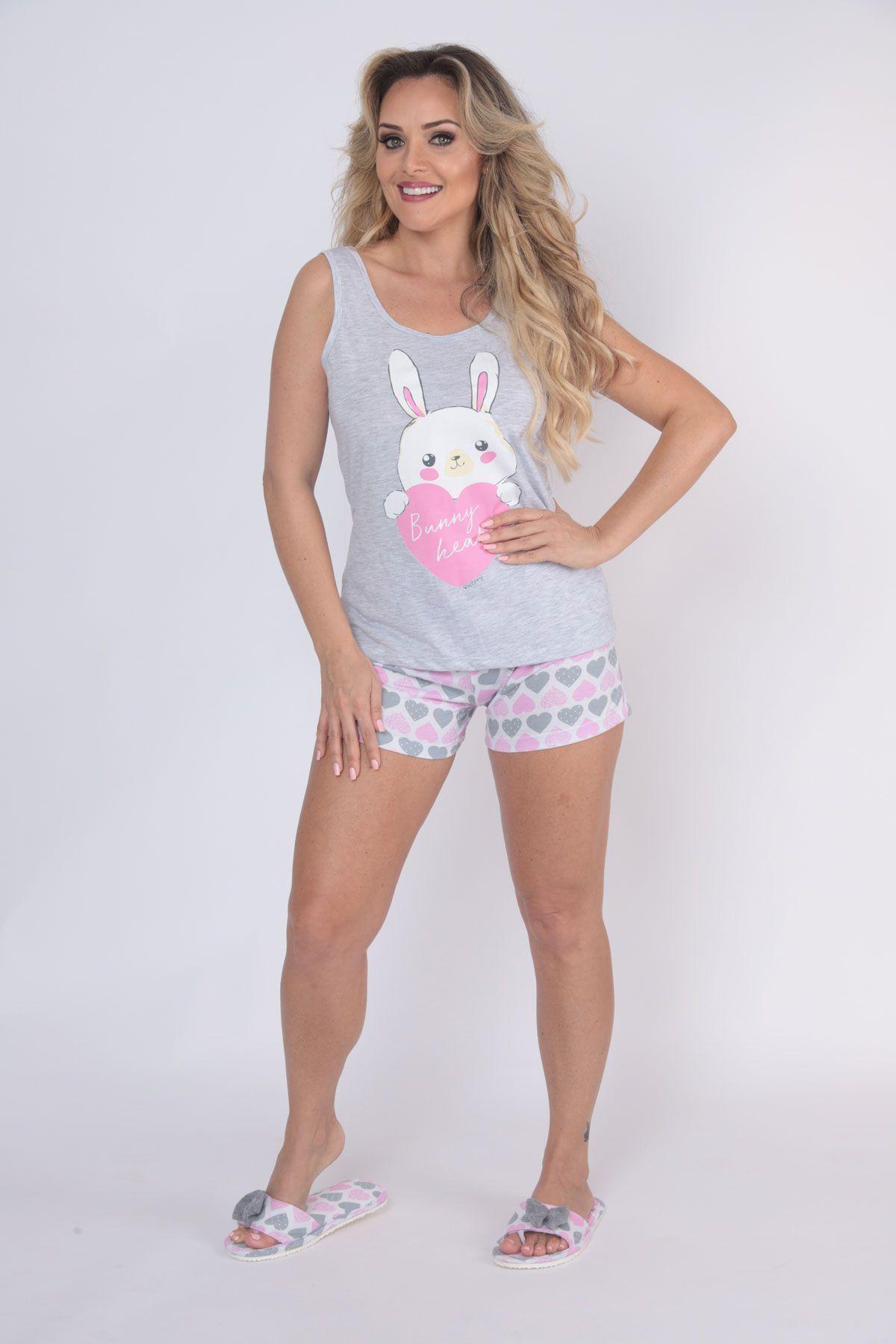 "Pijama Feminino Short Doll Regata ""Bella"" - Victory 20003"