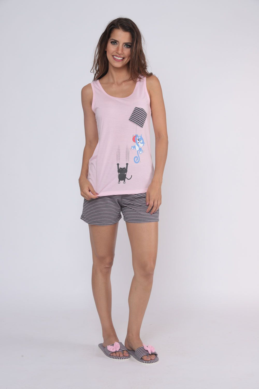 "Pijama Feminino Short Doll Regata ""Bolsinho"" - Victory 20004"
