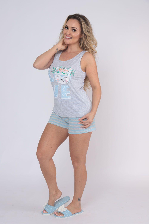 Pijama Feminino Short Doll Regata Meia Malha - Victory 20001