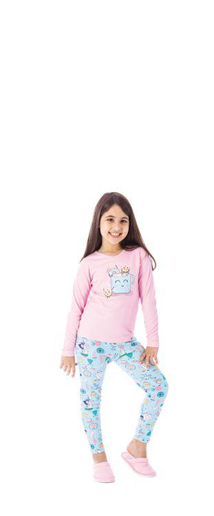 Pijama Inverno Canelado Feminino Infantil-Victory 20155