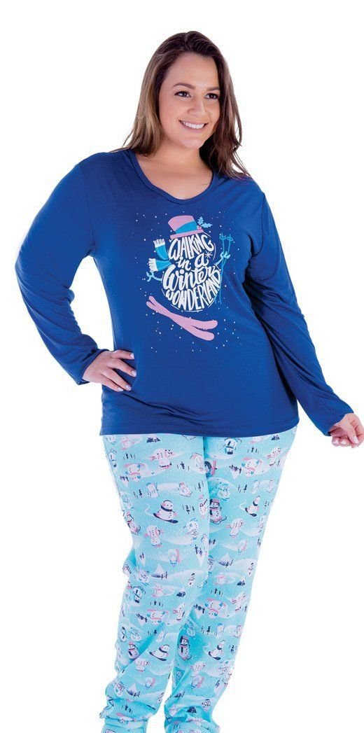 Pijama Inverno Plus Size Malha Fria Adulto Feminino - Victory 18127