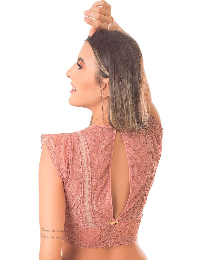 Sutiã Cropped Em Renda E Tulle-Dy Any Ref:3842