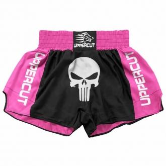 Calção Short Muay Thai Kickboxing Caveira Premium - Pre/Rosa