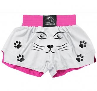 Calção Short Muay Thai Kickboxing - Gatinha - Branco/Rosa