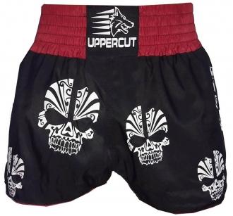 Calção Short Muay Thai Kickboxing Multi Caveiras - Pre/Verm