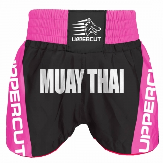 Calção Short Muay Thai Premium BR - Pre/Rosa