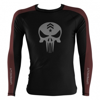 Rash Guard No Gi Jiu JItsu Caveira War R4 - Preto/Marrom