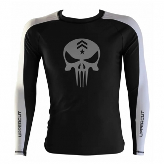 Rash Guard No Gi Jiu JItsu Caveira War R-1 - Preto/Branco