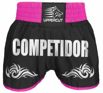 Short Muay Thai Kickboxing Competidor Tribal - Preto/Rosa