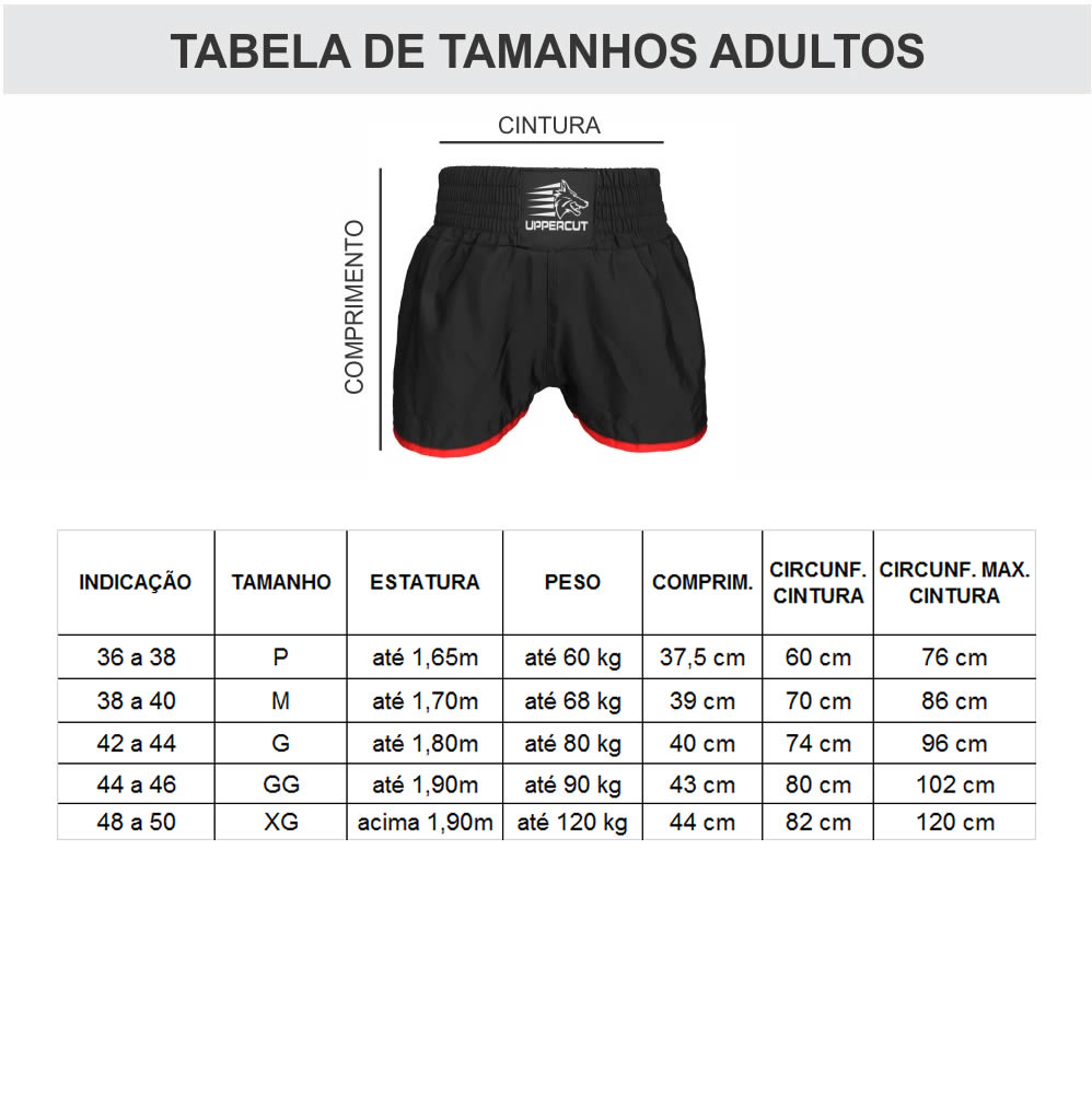 Calcao Short Muay Thai Kickboxing Big Upper ST-16 - Preto