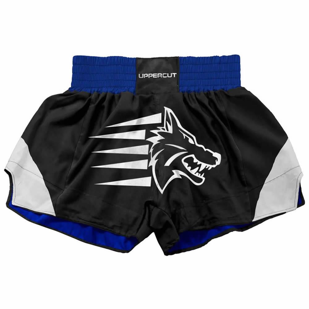 Calção Short Muay Thai Kickboxing Big Wolf - Preto/Azul