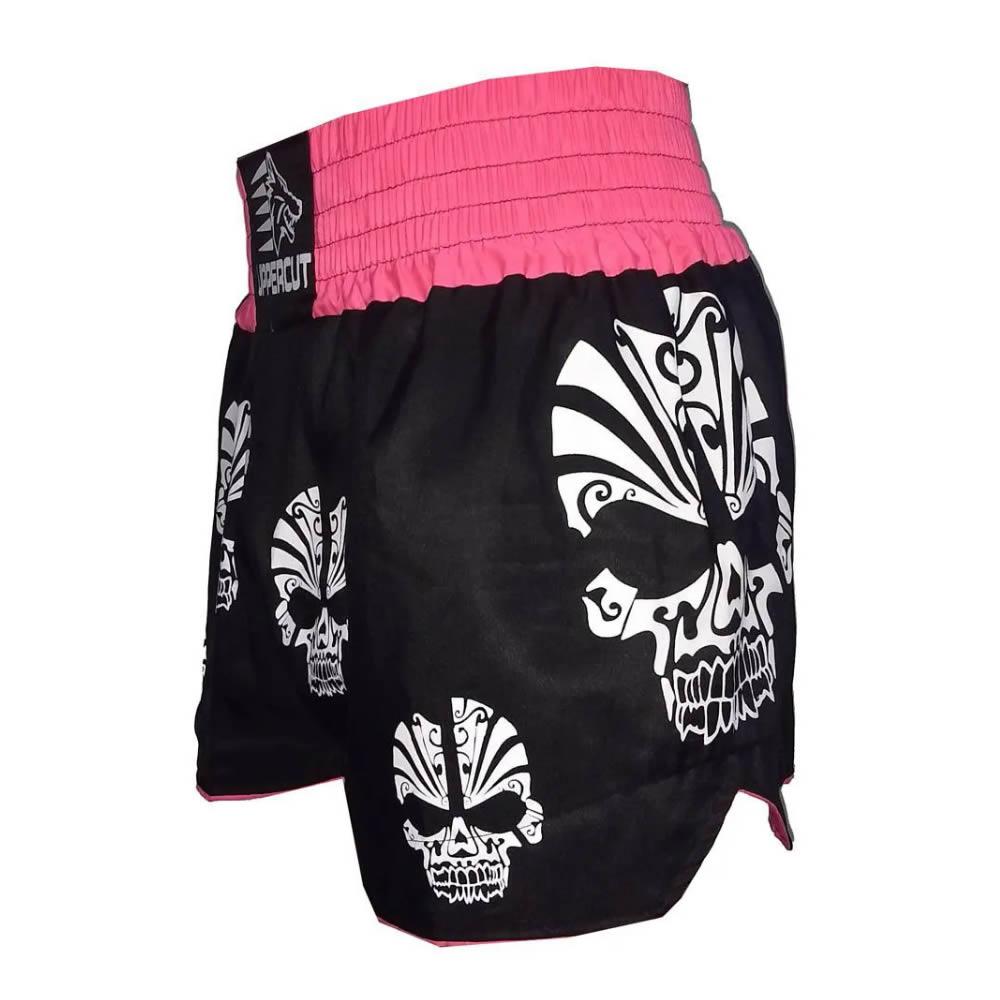 Calção Short Muay Thai Kickboxing Multi Caveira - Pre/Rosa