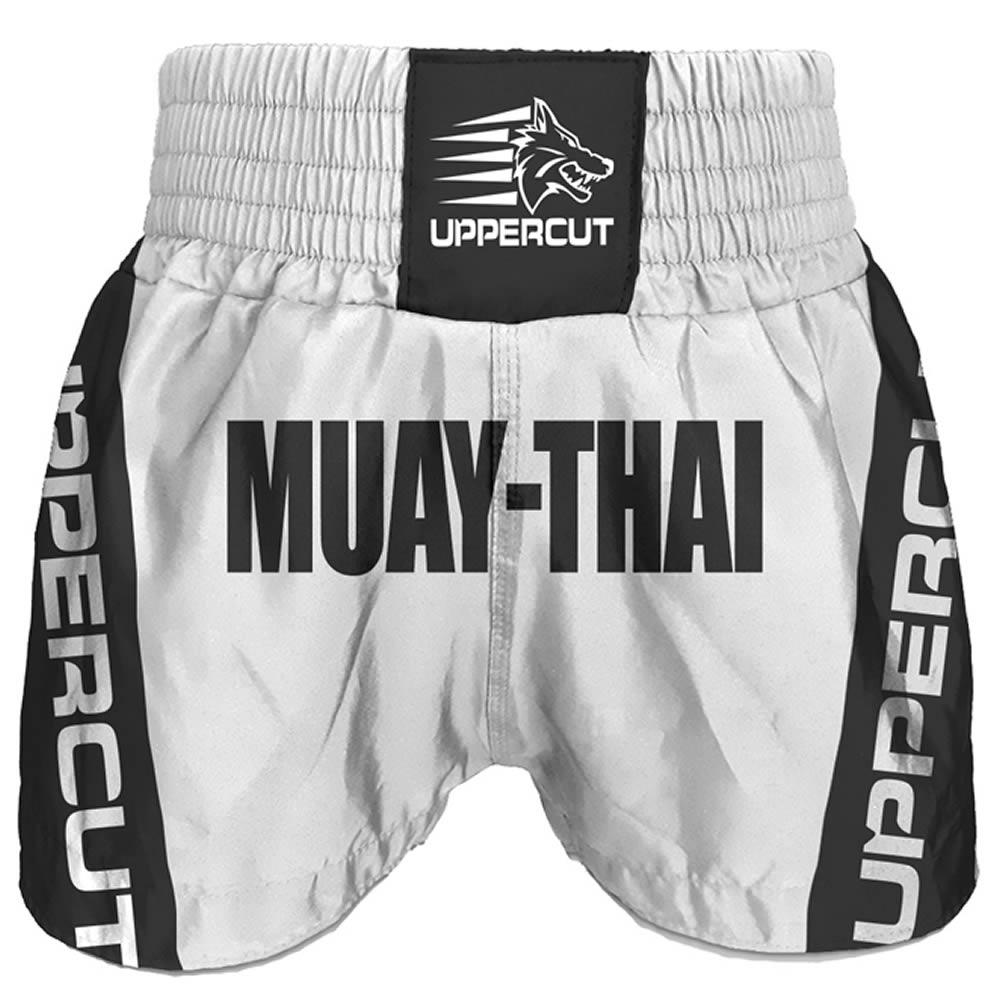 Calção Short Muay Thai Premium BR - Branco/Preto