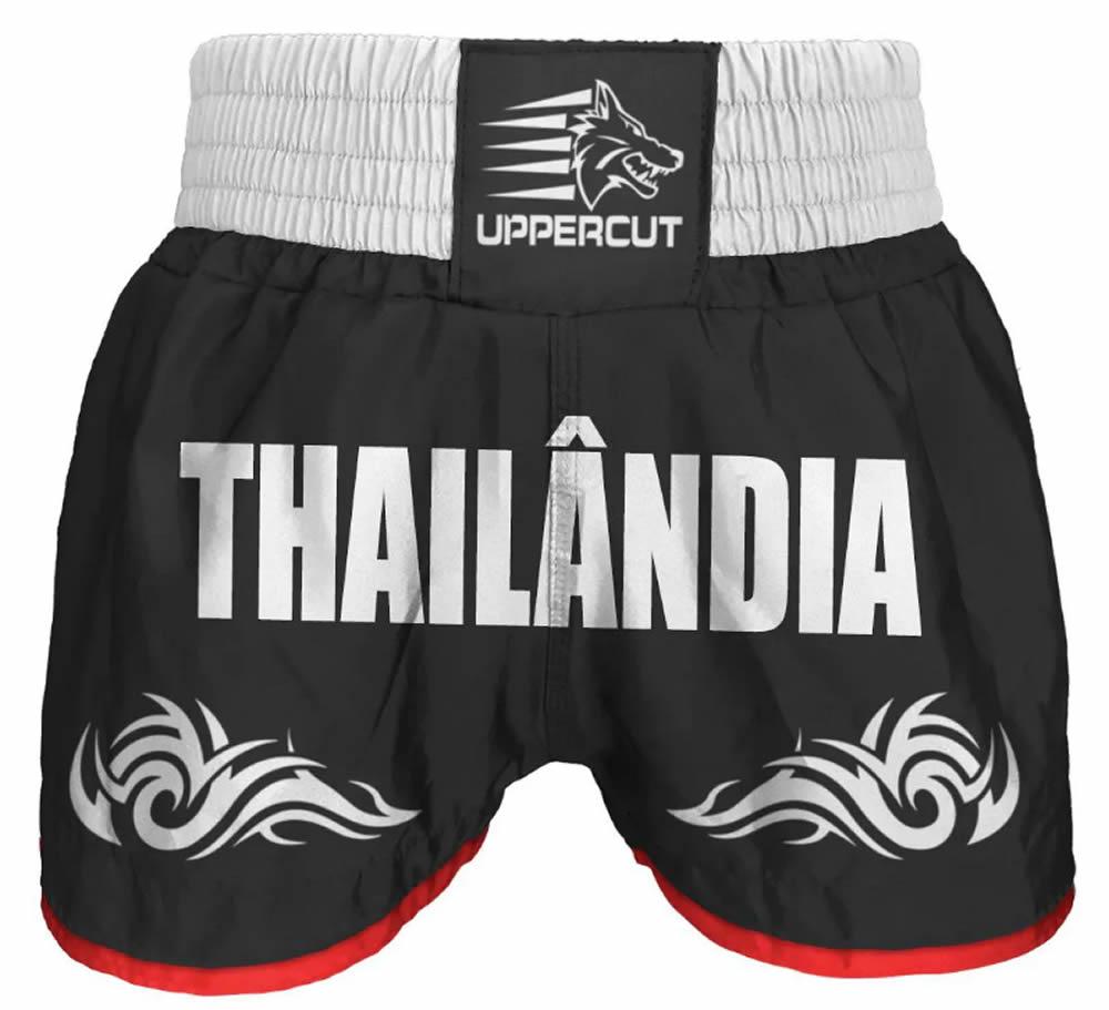 Calção Short Muay Thai Thailandia Tribal - Preto/Branco
