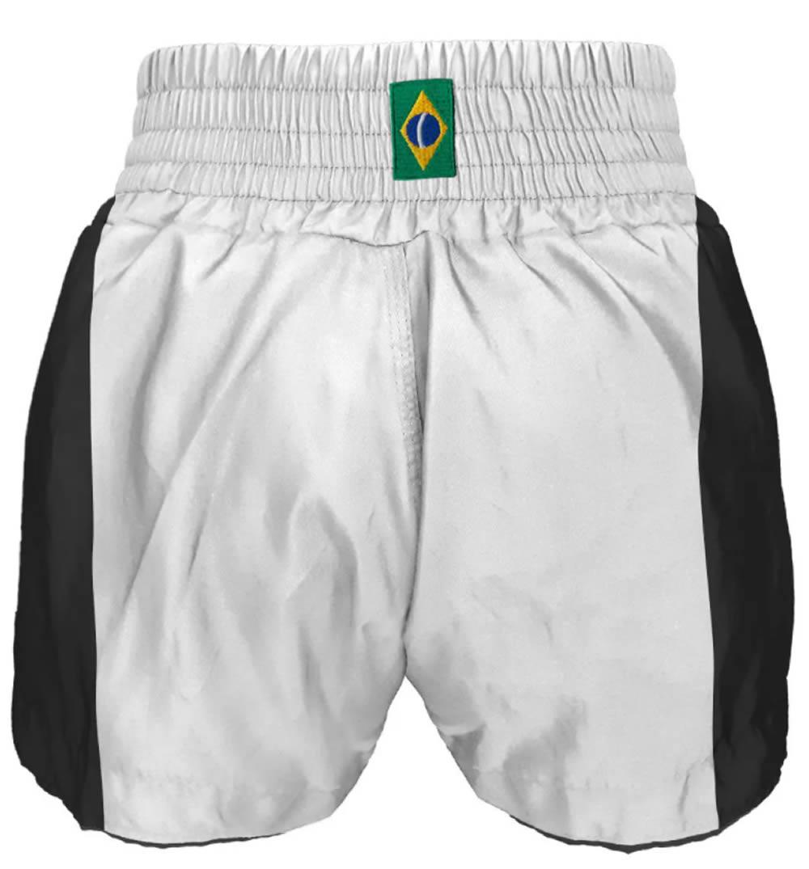 Calção Short Muay Thai Traditional Premium - Branco/Preto
