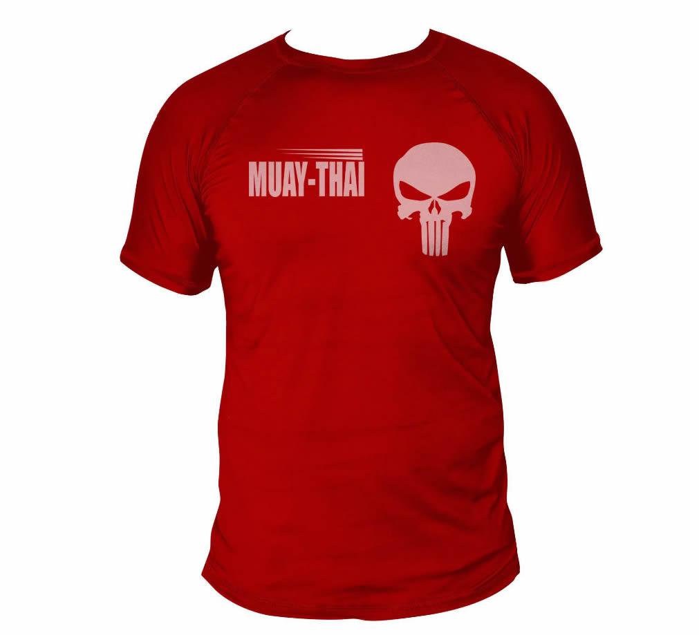 Camisa Muay Thai Caveira War - Dry Fit UV50+ - Vermelha