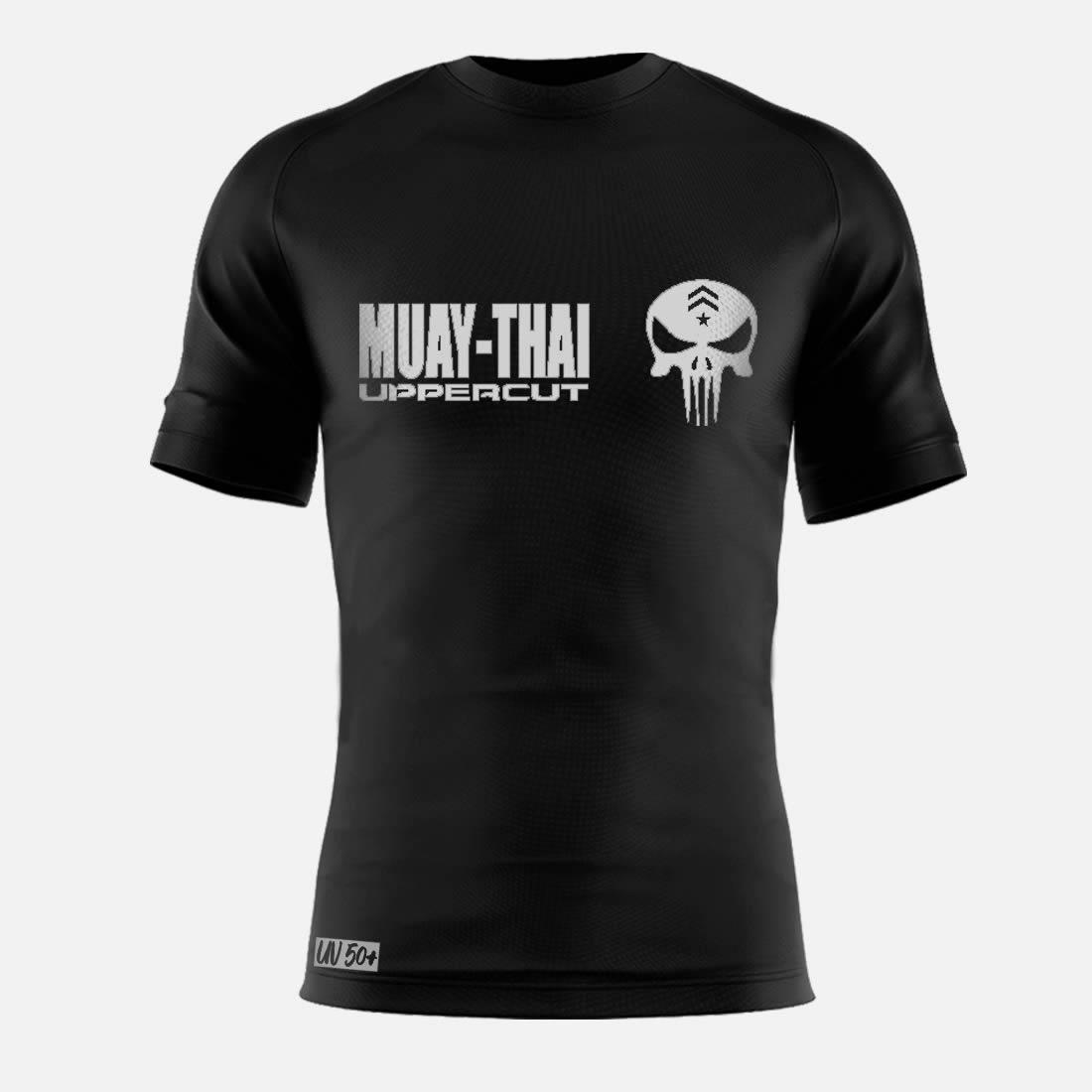 Camisa Muay Thai Caveira War - Dry Fit UV-50+ - Preta