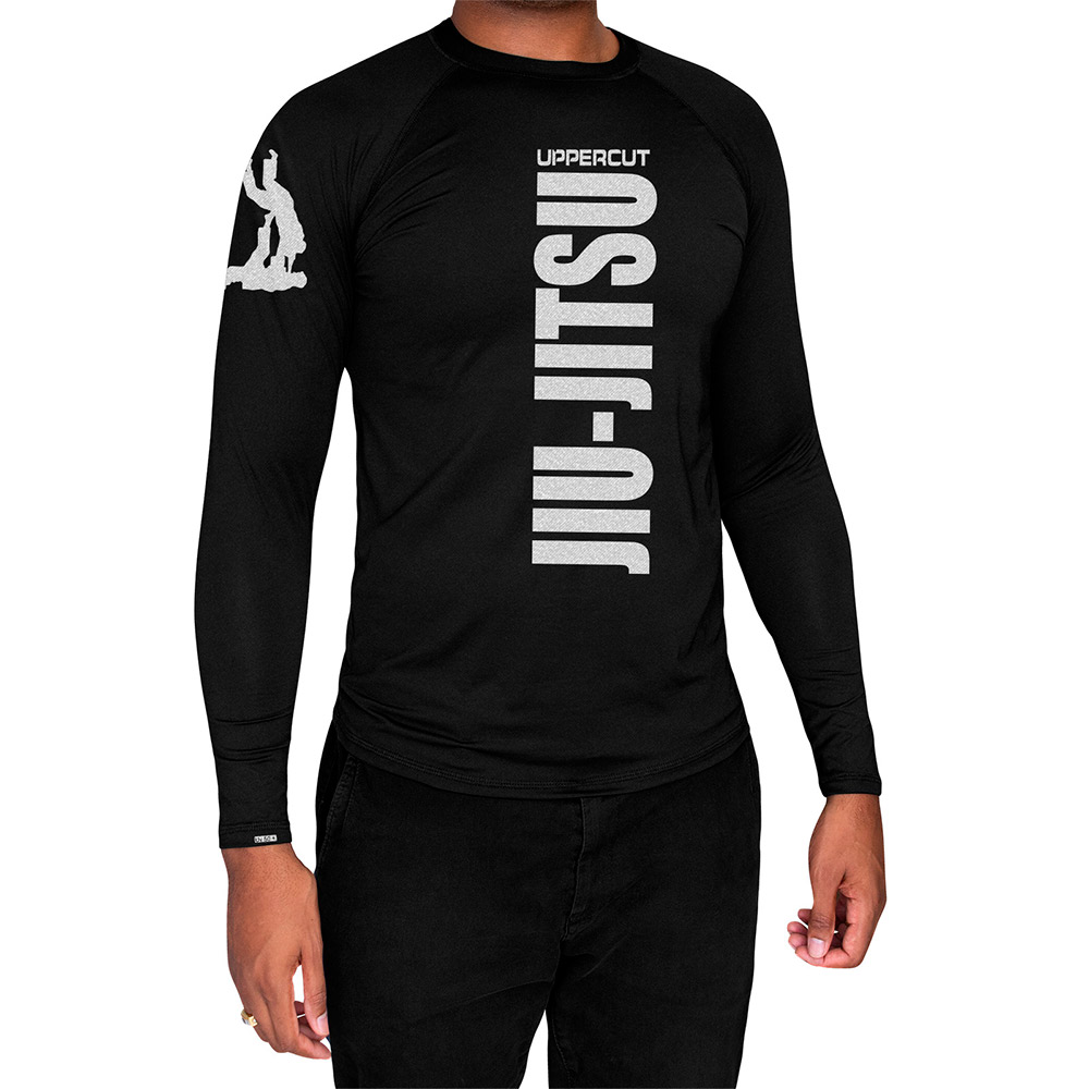 Camisa Proteção Solar UV50+ ML - Jiu Jitsu Vertical - Preta