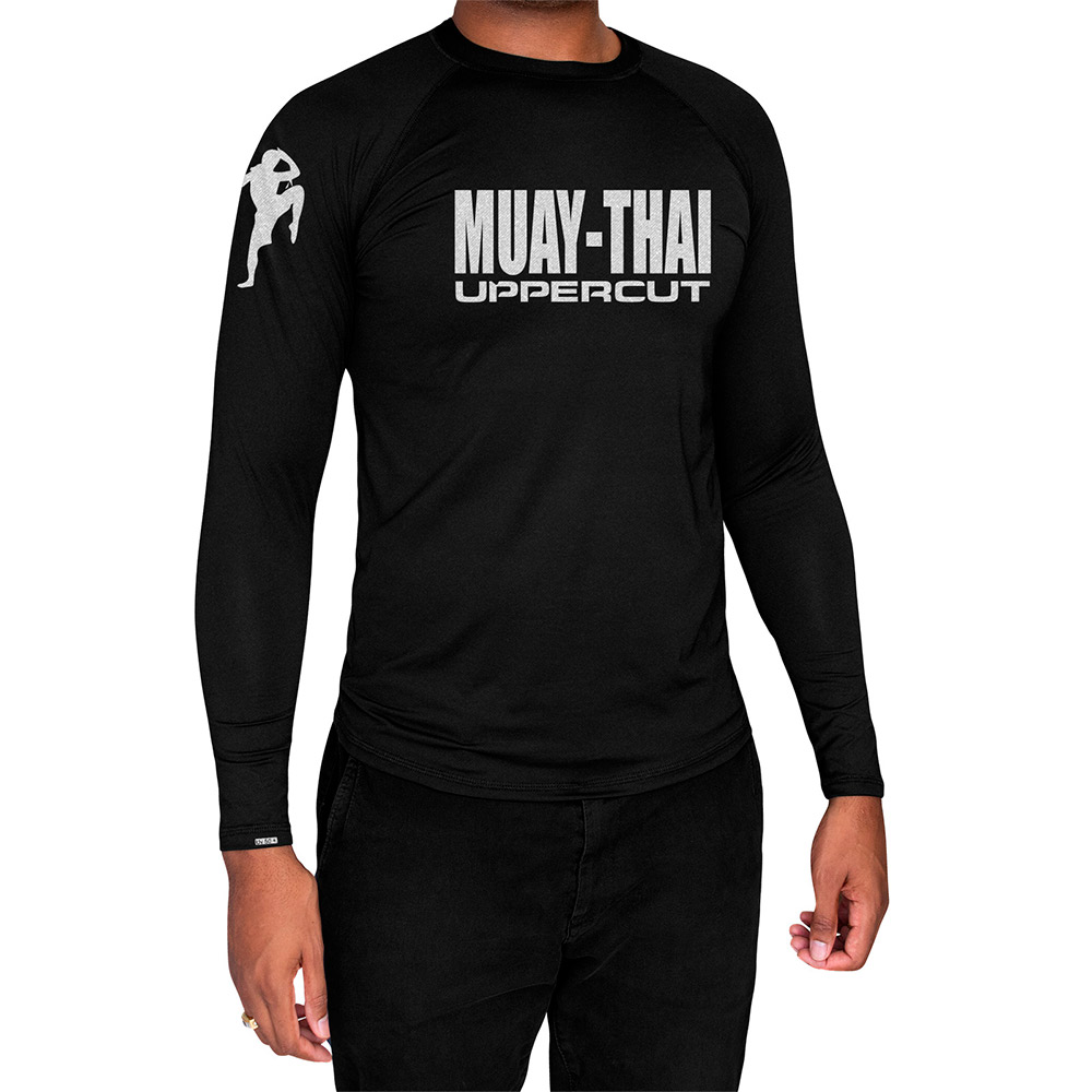 Camisa Proteção Solar UV50+ ML -Muay Thai HZT - Preta