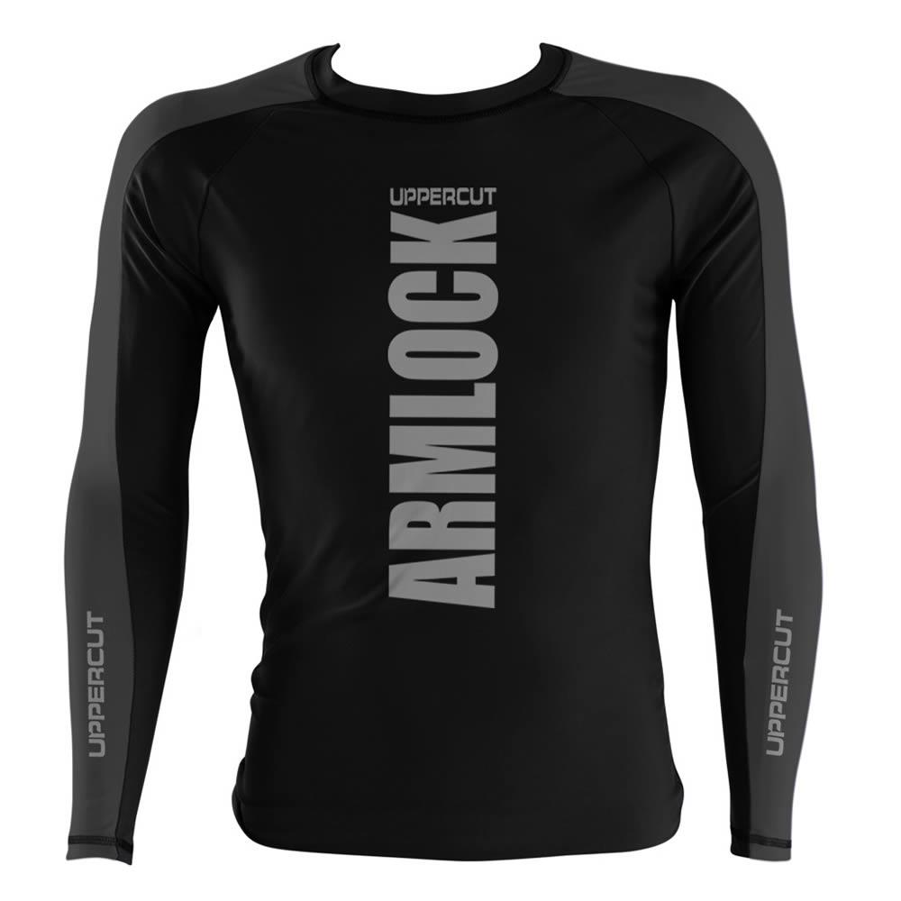 Camisa Rash Guard No Gi Jiu JItsu Armlock R-10 - Preto/Cinza
