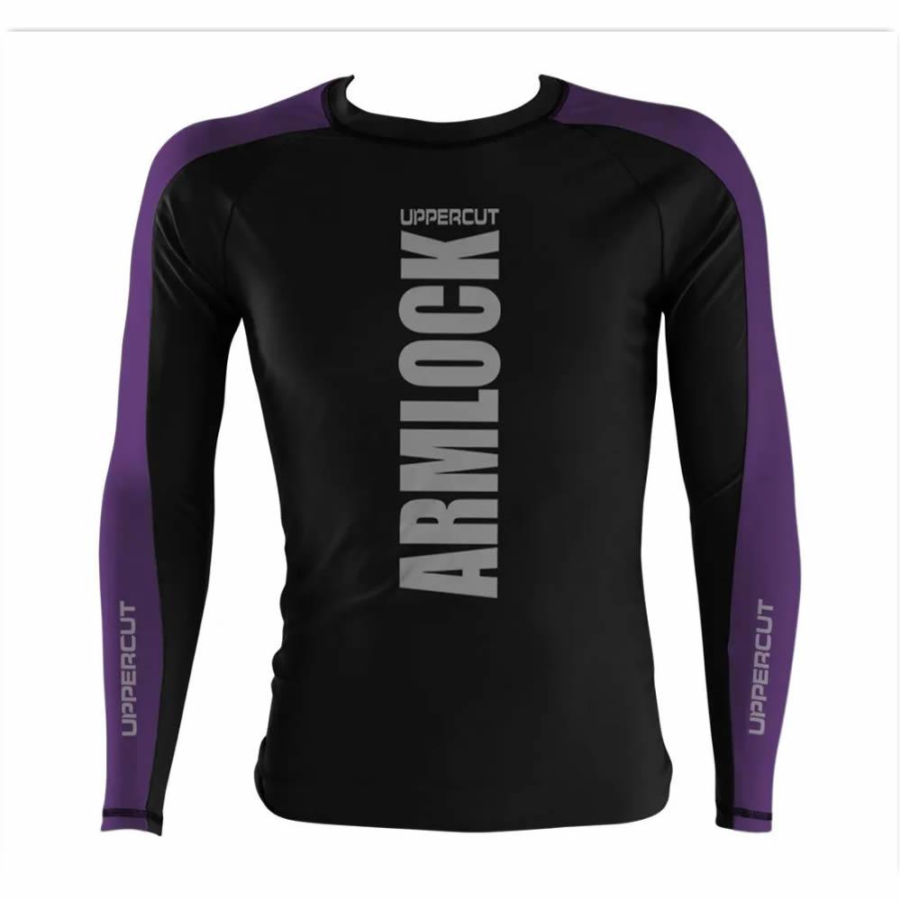 Camisa Rash Guard No Gi Jiu JItsu Armlock R-19 - Preto/Roxo