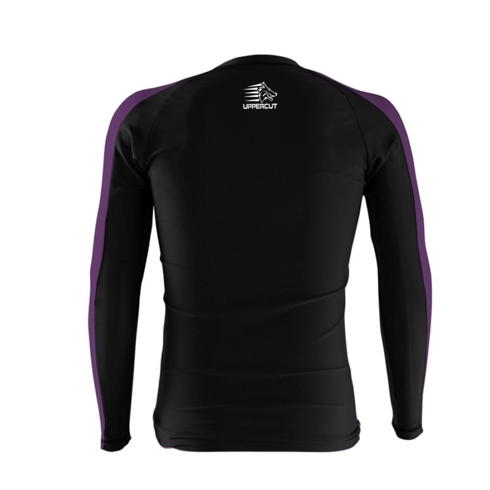 Camisa Rash Guard No Gi Jiu JItsu - Lobo - Preto/Roxo