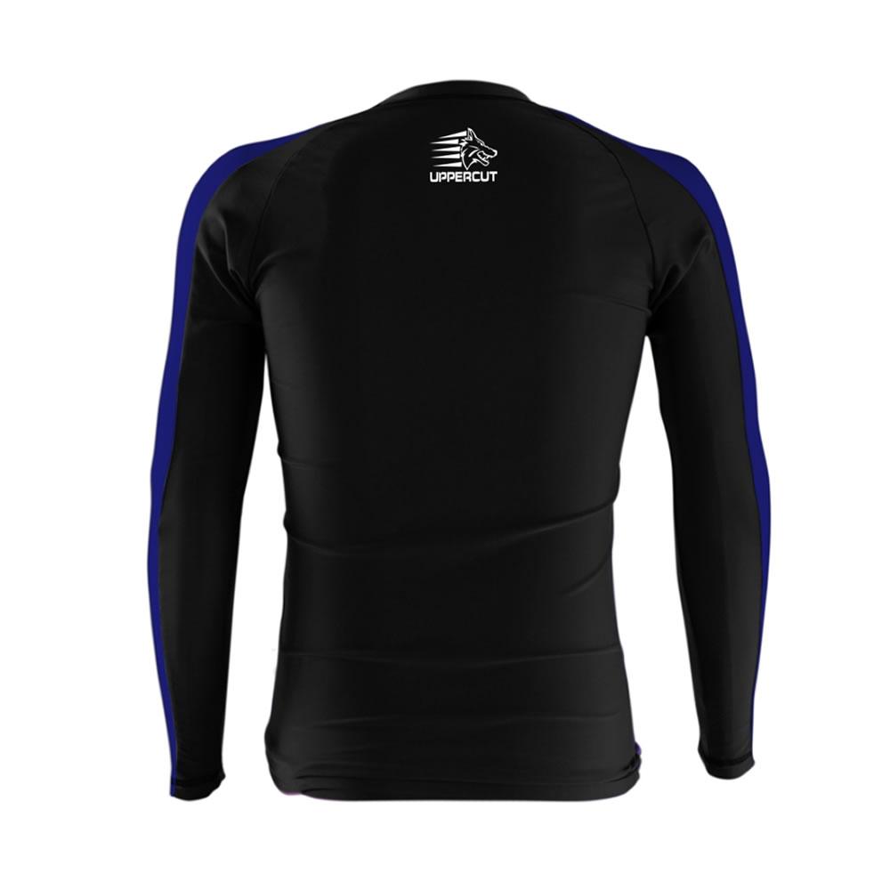 Camisa Rash Guard No Gi Jiu JItsu - Lobo - Preto/Azul