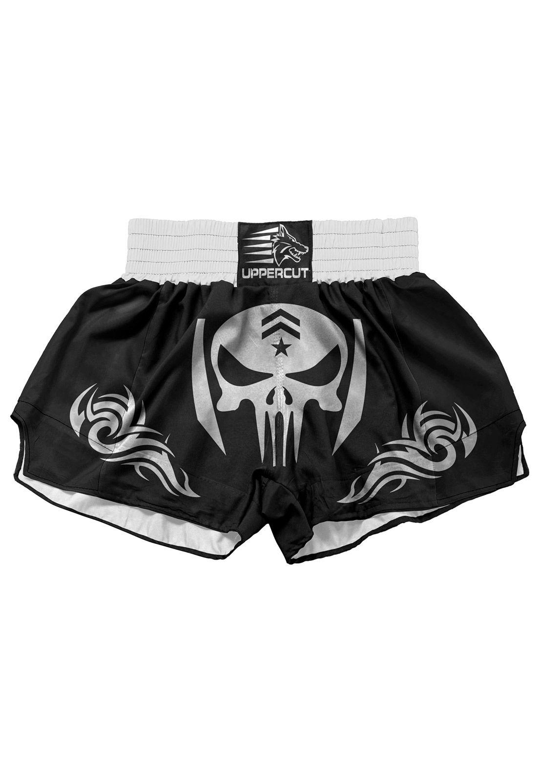 Short Muay Thai Kickboxing Caveira Tribal - Preto/Branco