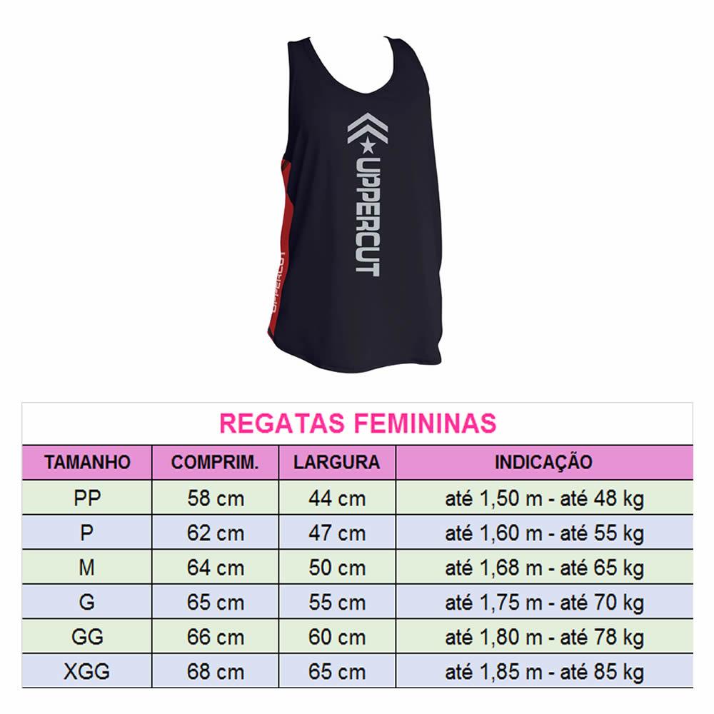 Regata Dry Fit - Muay Thai BR - UV-50+ Feminina - Pre/Verm