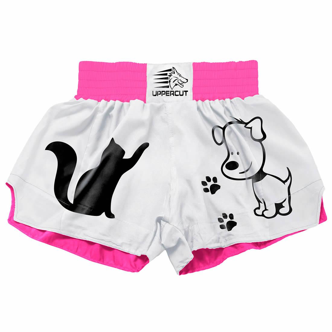 Short Muay Thai Kickboxing - 2 Pets - Branco/Rosa