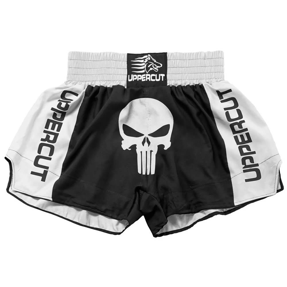 Short Muay Thai Kickboxing Caveira Premium - Pre/Bra