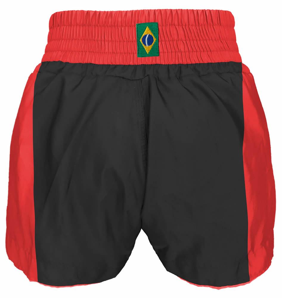 Short Muay Thai Kickboxing Caveira Premium - Pre/Verm