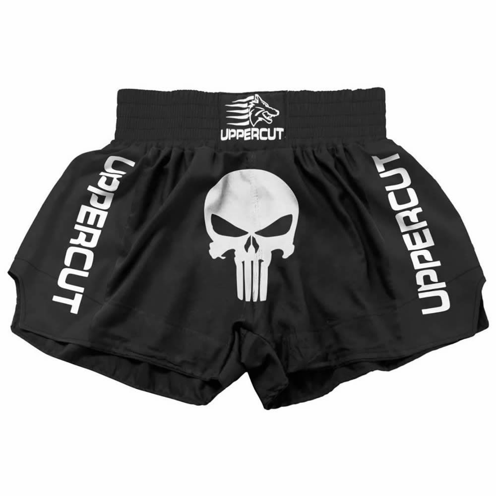 Short Muay Thai Kickboxing Caveira Premium - Todo Preto