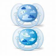 Chupeta Ultra Soft Azul 6-18m - 2 unidades - Avent