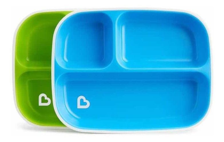 Kit 2 Pratos com Divisórias Splash Verde e Azul - Munchkin