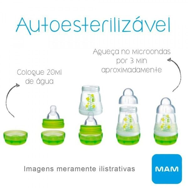 Mamadeira Easy Start Autoesterilizável Azul 260ml - MAM