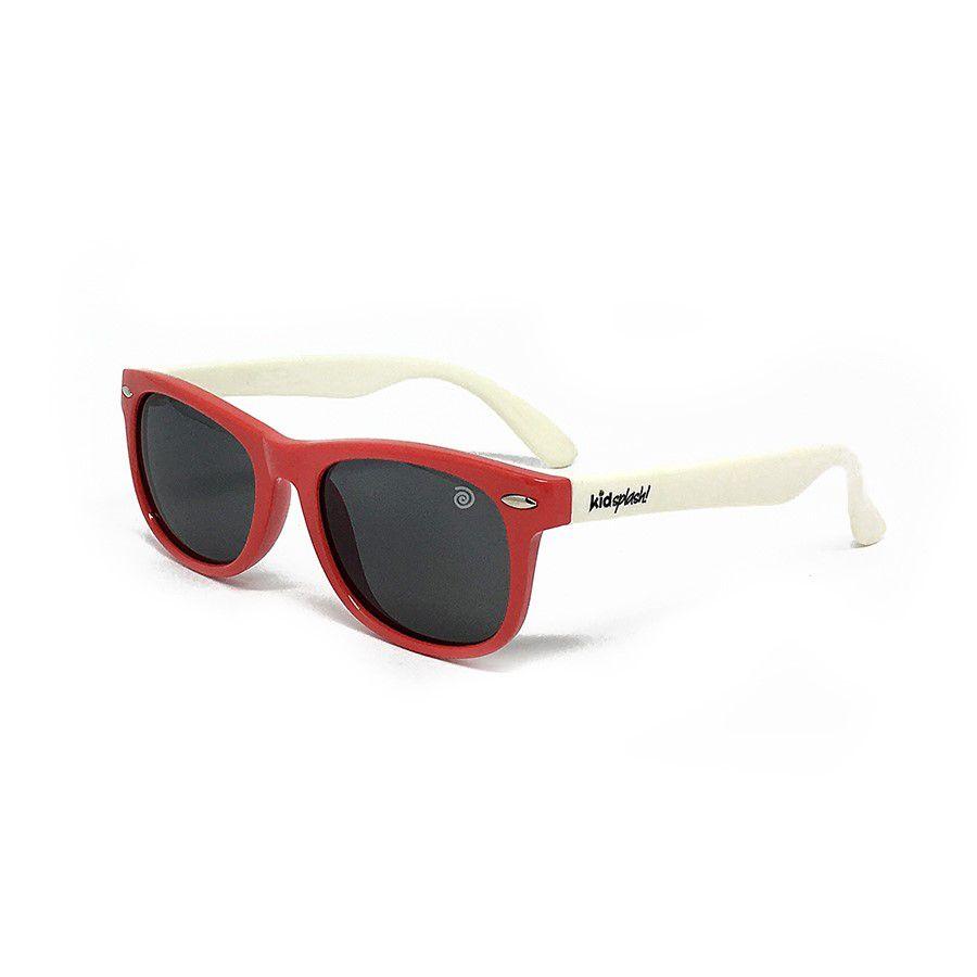 Óculos de Sol Flexível Polarizado e Proteção UV400 - Vermelho/Branco - 4 a 8  anos - Kidsplash