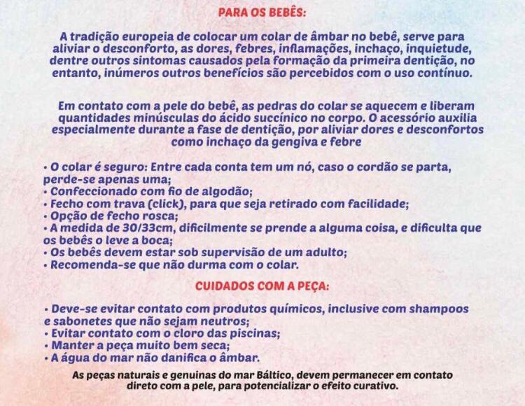 Pulseira de Âmbar Infantil Cognac Não Polido - 14/15 cm