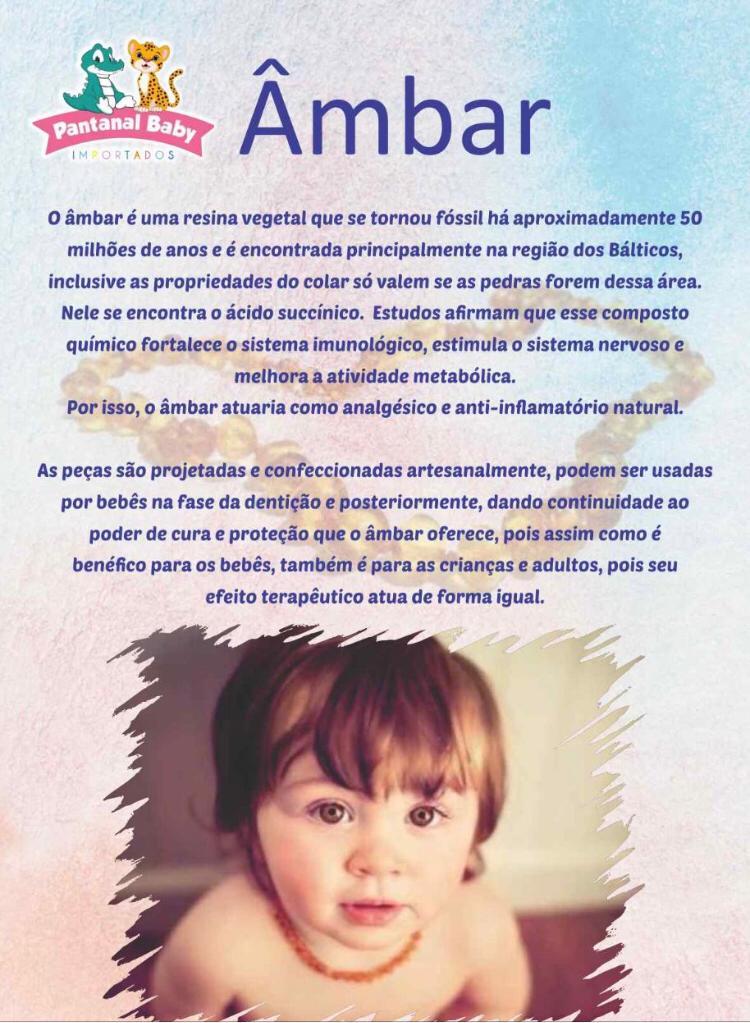 Pulseira de Âmbar Infantil Mel Polido - 17/18 cm