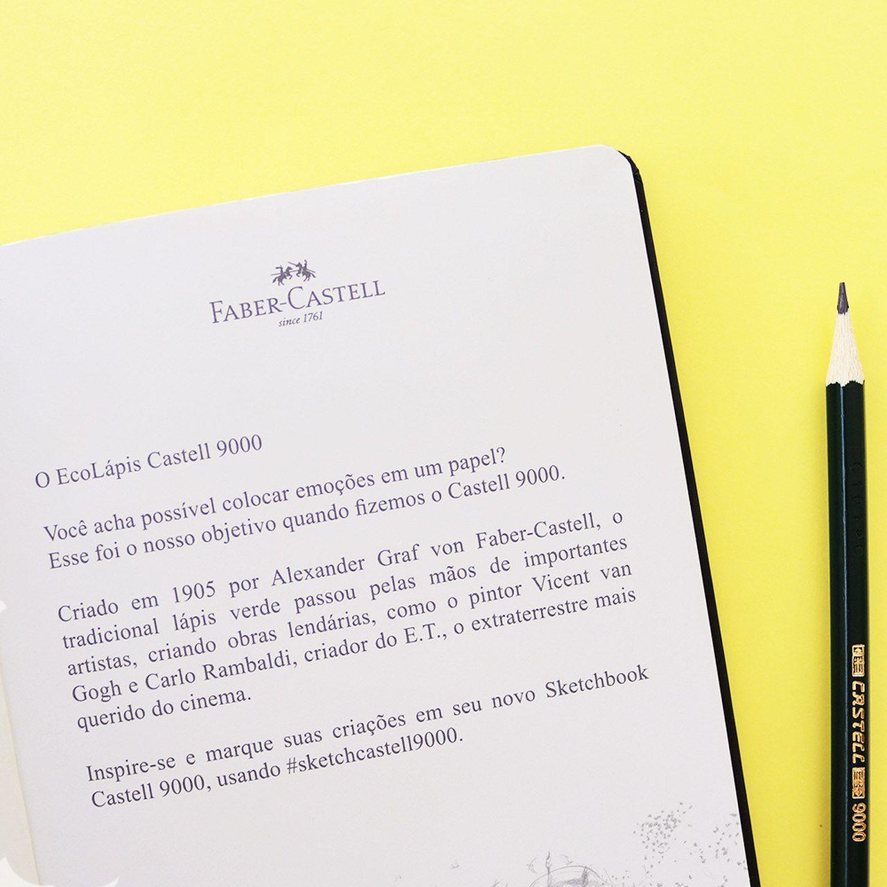 Caderneta Sketchbook Castell 9000 Sem Pauta + EcoLápis