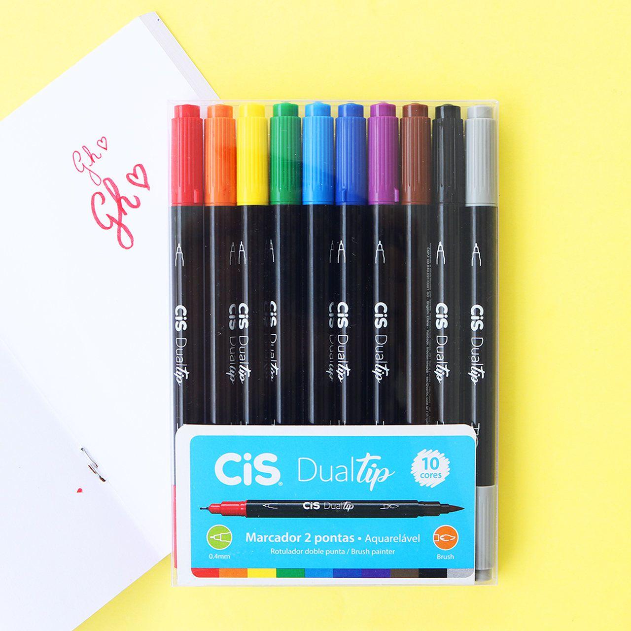 Estojo Canetas Cis Dualtip - Duas pontas: Fine & Brush Pen