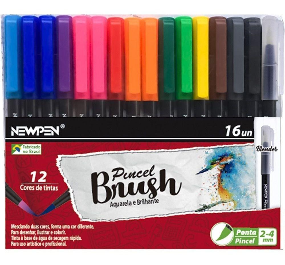 Kit Canetas Brush New Pen - 16 Unidades