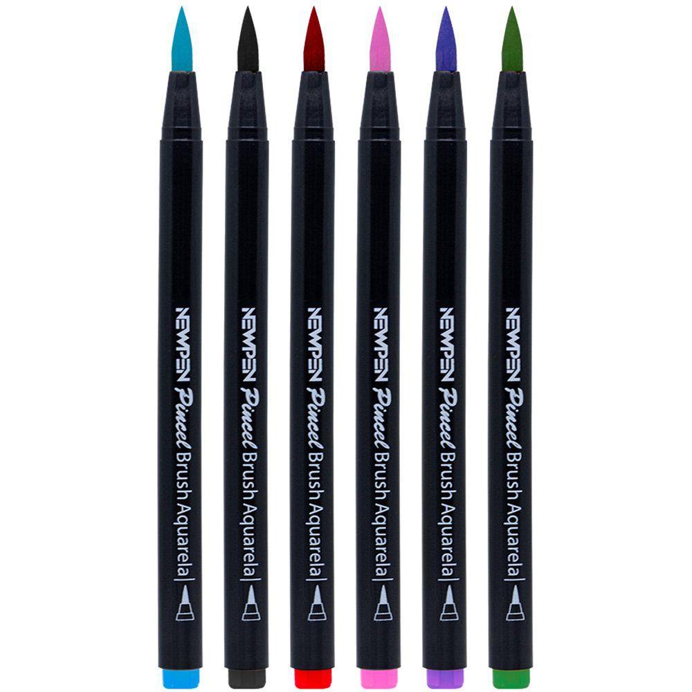 Kit Canetas Brush New Pen Cores Básicas - 6 Unidades