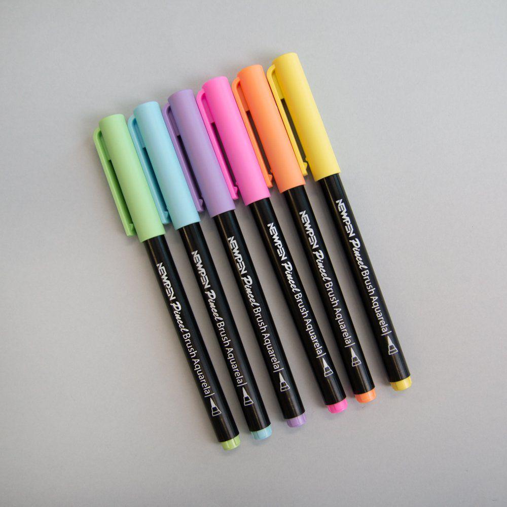 Kit Canetas Brush New Pen Cores Pastel - 6 Unidades