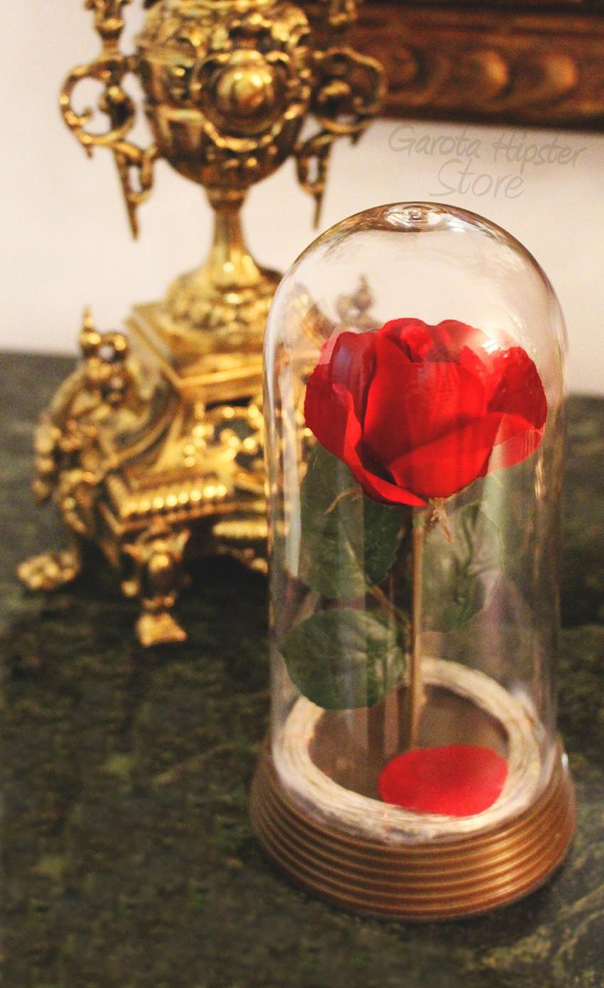 Luminária Bela e Fera - Rosa Encantada (Bivolt)