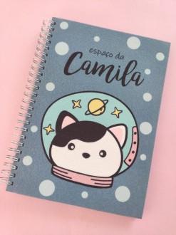 Caderno Catstronaut Personalizada com Nome