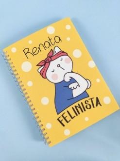 Caderno Felinista Personalizada com Nome
