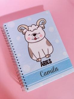 Caderno Áries Cachorro Personalizada com Nome