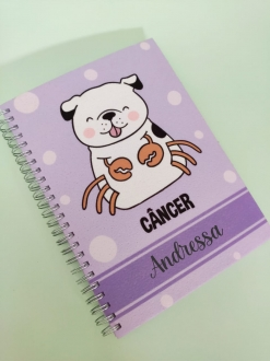 Caderno  Câncer Cachorro Personalizado com Nome